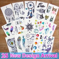 1 PCS Waterproof tattoo flash Temporary 3d Tattoo sticker on body dreamcatcher dream catcher tattoo fake glitter tattoo