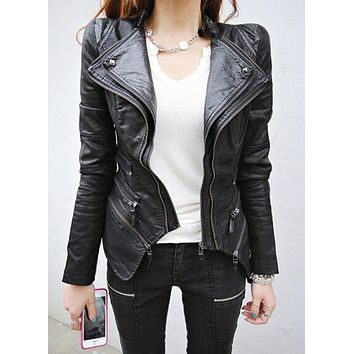 Women Spliced Snake Pattern Shrug Shoulder Pads Double Lapels Zipper Exposed Asymmetric Faux Leather Biker Jacket