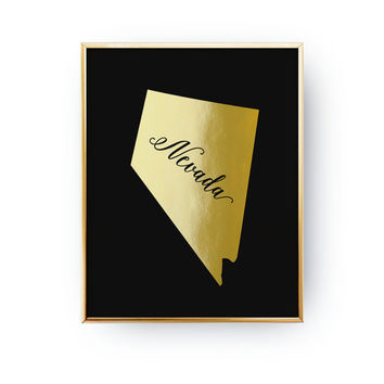 Nevada Print, Nevada State Print, Real Gold Foil Print, USA State Poster, Nevada State Map, USA State, Nevada Silhouette, Black Background
