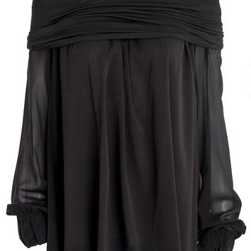 Donna Karan New York Cuffed Off-The-Shoulder Blouse
