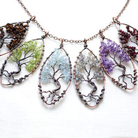 Raw Crystal Tree of Life Necklace Wirewrapped Gemstone Tree of Life Pendant Birthstone Necklace Bonsai Tree Family Tree Choker Copper Chain