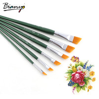 Bianyo 6Pcs Artist Brushes Angled Shape Nylon Hair Acrylic Paint Brush Set For School Watercolor Painting Crafts Art Supplies