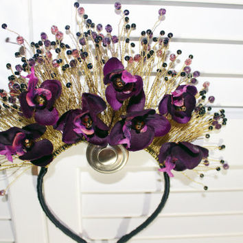 Elegant crown with beads and flowers in purple and black colors, fashion headpiece, fashion crown, tiara with flowers.