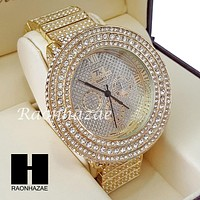 Men's Hip Hop Iced Out 14K Gold PT Bling Lab Diamond Techno King Rapper Watch L4