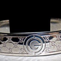 """Vintage Made in Italy FAB GUCCI """"G"""" LOGO Sterling Silver Cuff Bracelet MINTY!"""