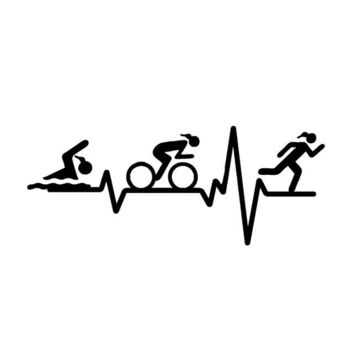 Swimming Pool beach YJZT 14.7*5.9CM HEART BEAT LINE Triathlon Swim Girl Runner Bicycle Decor Car Sticker Accessories Vinyl C12-0637Swimming Pool beach KO_14_1