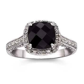 1.7 Carat Genuine Black Onyx Cushion Cut Ring