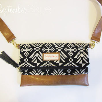 Black and White aztec in a foldover clutch and cross-body bag