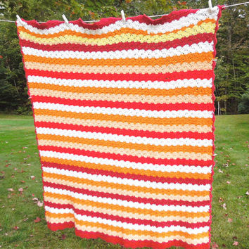 "Vintage crochet striped afghan blanket throw in candy-corn orange white peach tomato-red yellow 58"" x 54"""