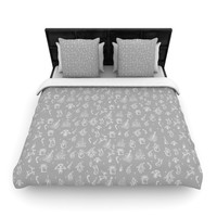 "Snap Studio ""Miniature Christmas Gray"" White Woven Duvet Cover"