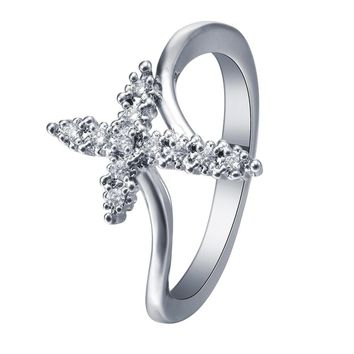 Women's Brand Natural White Sterling Silver Cross Ring