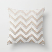 +++ GLITTER NUDE CHEVRON   +++ Throw Pillow by M✿nika  Strigel with sparkling effect! For your luxury bedroom!