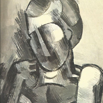 "Pablo Picasso 1972 Vintage Lithograph Signed on the Plate Entitled ""Buste D'homme"", Original is circa 1909 - From Sari Heller Gallery"