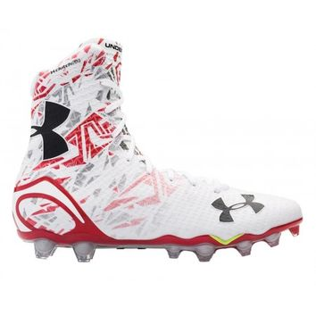 Under Armour White/Red Highlight Cleats | Lacrosse Unlimited