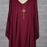 A Touch of Lovely Plus Size Chiffon Necklace Dress - Burgundy