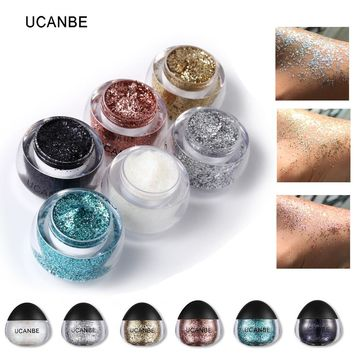 6 Colors Shimmer Glitter Paste Gel Highlighter Cosmetic Makeup Kit Diamond Shadow Face Body Hair Paint Cream Brand UCANBE