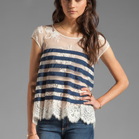 BCBGMAXAZRIA Striped Short Sleeve Top in Carbon Combo from REVOLVEclothing.com