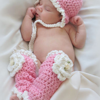 Crochet Baby Hat and Leg Warmers Pattern, Newborn Photo Prop, Hat Pattern with Earflaps, Leg Warmer Pattern, Snow Flower Hat and Leg Warmers