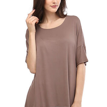 Hi-Low Hem Short Sleeve Round Neck Stretch Tunic T-Shirt Top