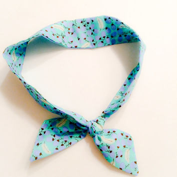 Blue dolly bow, Blue Rosie rap,  hair accessories, ponytail tie, knotted headband, back to school