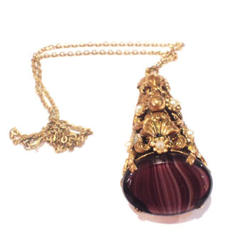 Vintage Art Deco Pendant Necklace, Dark Amethyst Art Glass, Goldtone and Seed Pearls, 1920s, 1930s