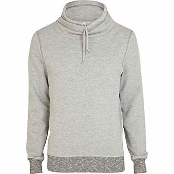 Grey marl contrast trim cowl neck sweatshirt - sweatshirts - hoodies / sweatshirts - men