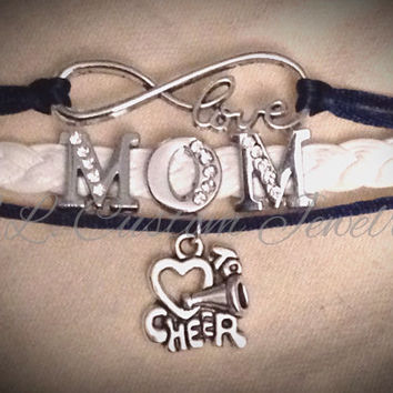 Infinity/Love w/ MOM Rhinetone & I Heart Cheer Charm on Cord- Customize w/ a different Charm; Dance, Hockey, Sport Mom, Music, sports