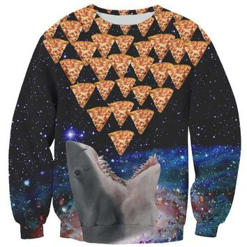 Aesthetic 3D Print Sweatshirt Galaxy Pizza Crewneck Shark Space Pizza Hoodies Cat Pizza Food Jumper Hipster Outfits Top Oversize
