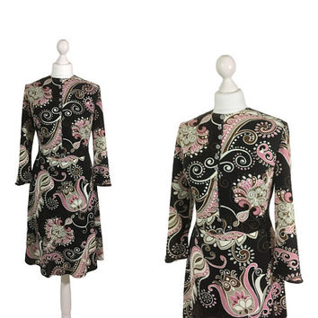 Black And Pink 1960's Dress | 60's Dress | Silver Metal Button Front | 1960's Patterned Dress
