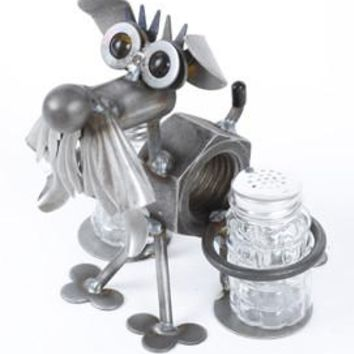 Schnauzer Recycled Scrap Metal Salt and Pepper Shakers