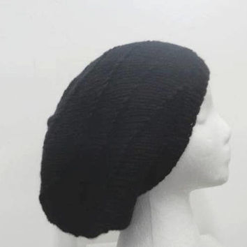 Black slouchy beanie hat knitted   5319