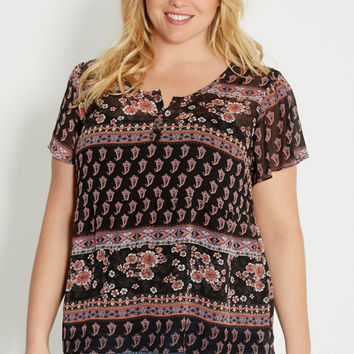 plus size peasant top in floral and paisley print | maurices