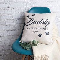 'My Pet Leaves Footprints Here' Cushion Cover