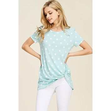 Detailed Knot Polka Dot Tunic