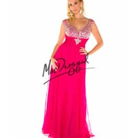 Fabulouss by Mac Duggal 76805F Cap Sleeve Fuchsia Embellished Gown 2015 Prom Dresses