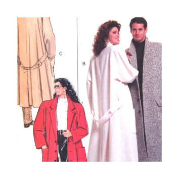1980s Vintage Uncut Pattern Unisex Misses Mens Full Length Coat Unlined Sizes XS S M L XL Butterick 6735 Rated Easy