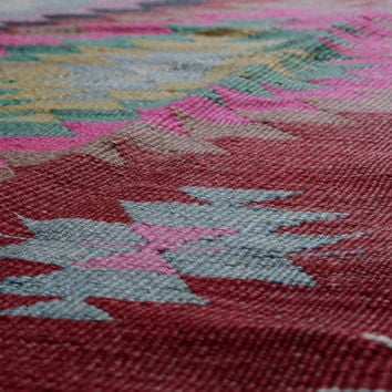 Colorful Diamond Kilim Rug - Lilac Color Bordered Rug with Diamond Patterns - Decorative Bright Colored Rug - A111404011