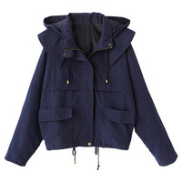 Blue Pocket Long Sleeve Loose Hooded Coat - Choies.com