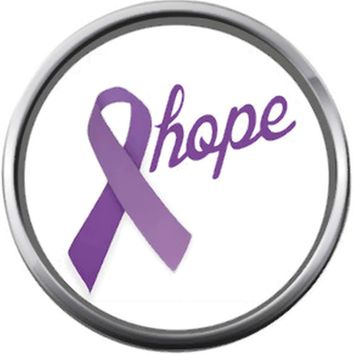 Hope Purple All Cancer Ribbon Survivor Cure By Awareness Believe Support 18MM - 20MM Charm