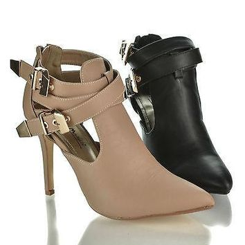 Momentum73 Nude By Anne Michelle, Strappy Pointed Toe Multi Buckle Cut Out Dress Bootie Sandals