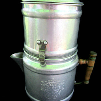 Drip O Lator Mid Century Cowboy Coffee Pot Maker Aluminum Tin Vintage Country Kitchen Decor