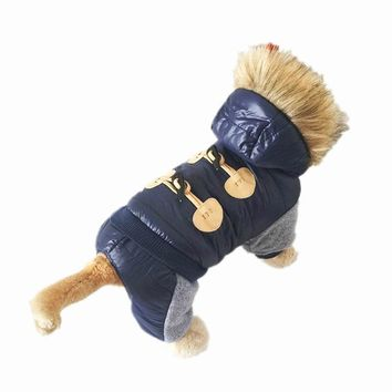 New Arrival Dark Blue Hoodied Pet Dogs Cotton Winter Coat free pet Coat clothing for dog