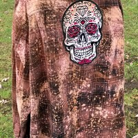 Sugar Skull Rose Distressed Flannel Free Shipping