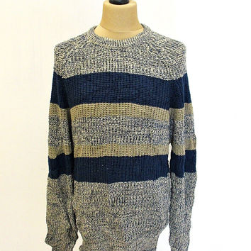 Vintage 90s Grey Navy Stripy Shaker Knit Jumper Sweater Large