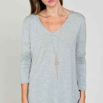 Perfect V Neck - Light Heather Grey