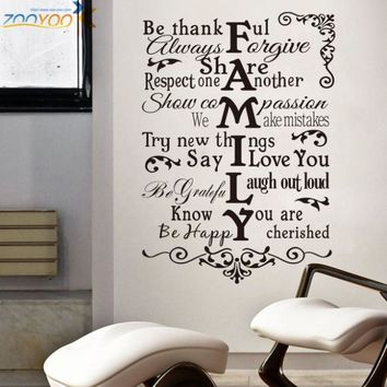 house rules wall stickers home decorations zooyoo8224 living room design home decoration sticker 3d removable vinyl wall decals
