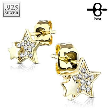 Pair of .925 Sterling Silver CZ Paved Double Star WildKlass Stud Earrings