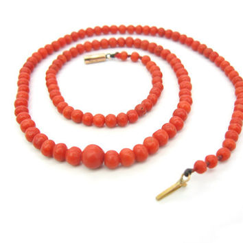 Victorian Coral Necklace. Antique Mediterranean Carved Coral Beads. Choker Necklace. Natural Undyed Coral, Graduated, 1800s Antique Jewelry.