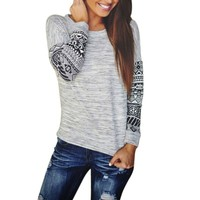 Casual  Geometric Print Loose Pullover Shirt Patchwork O-Neck Long Sleeve Thin Sweater Dressed Cozy