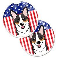 American Flag and Tricolor Corgi Set of 2 Cup Holder Car Coasters BB2185CARC